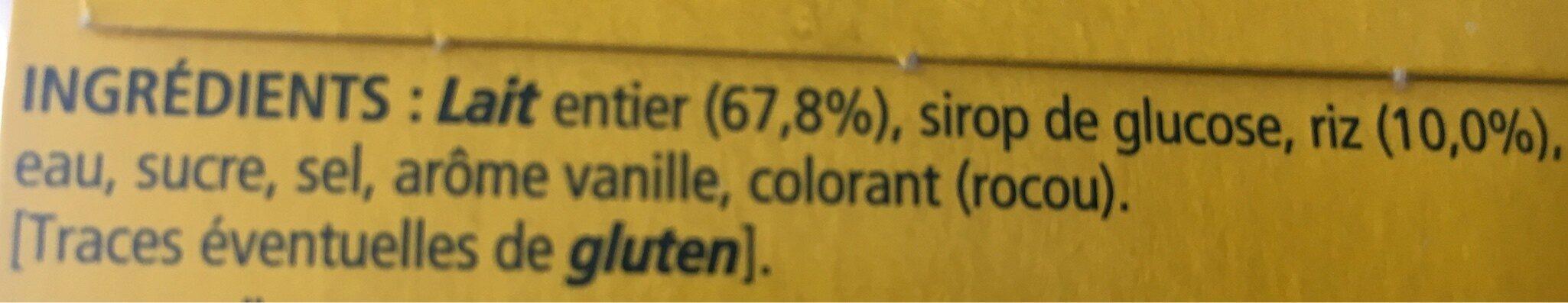 Riz au lait saveur vanille - Ingrediënten