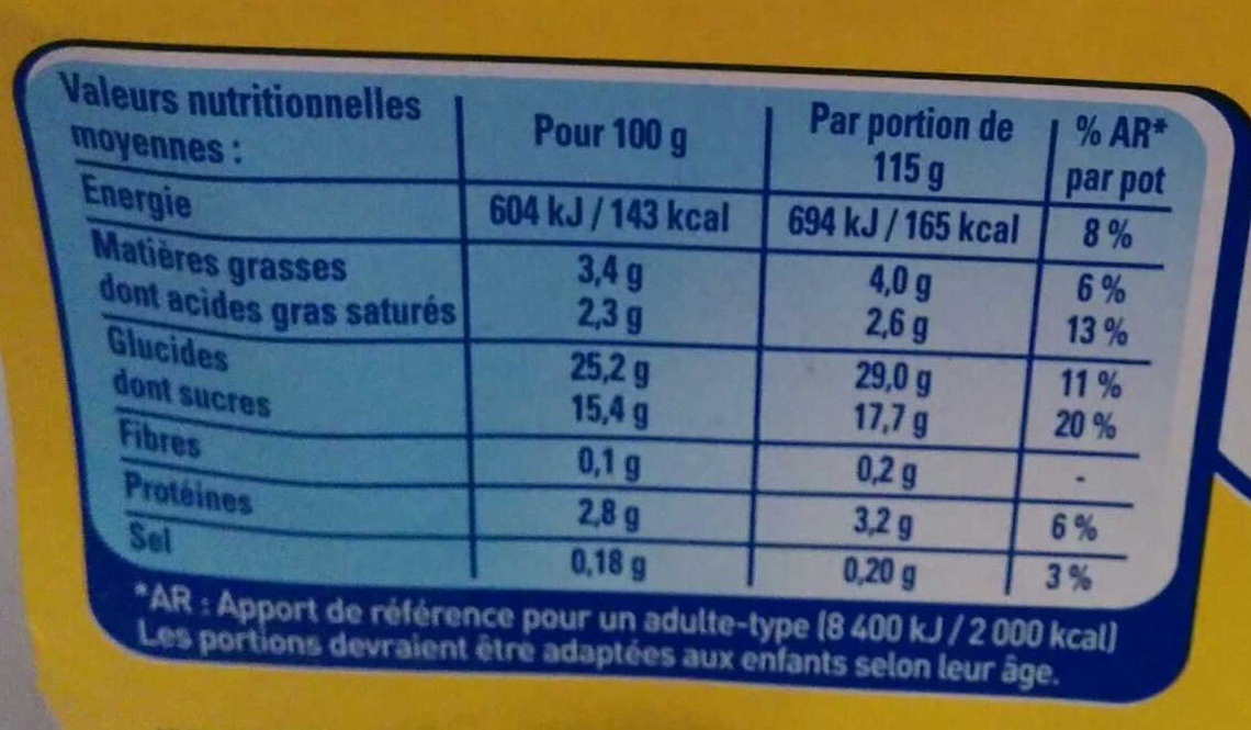 Riz au lait saveur vanille - Voedingswaarden