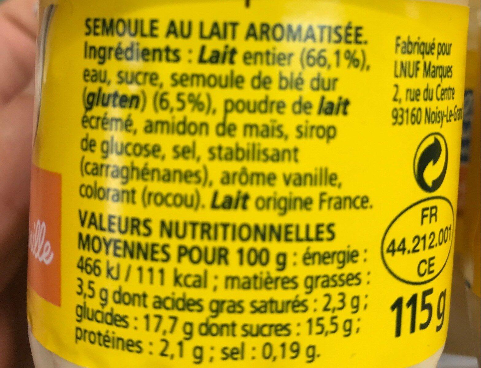 Semoule au lait - Ingrediënten