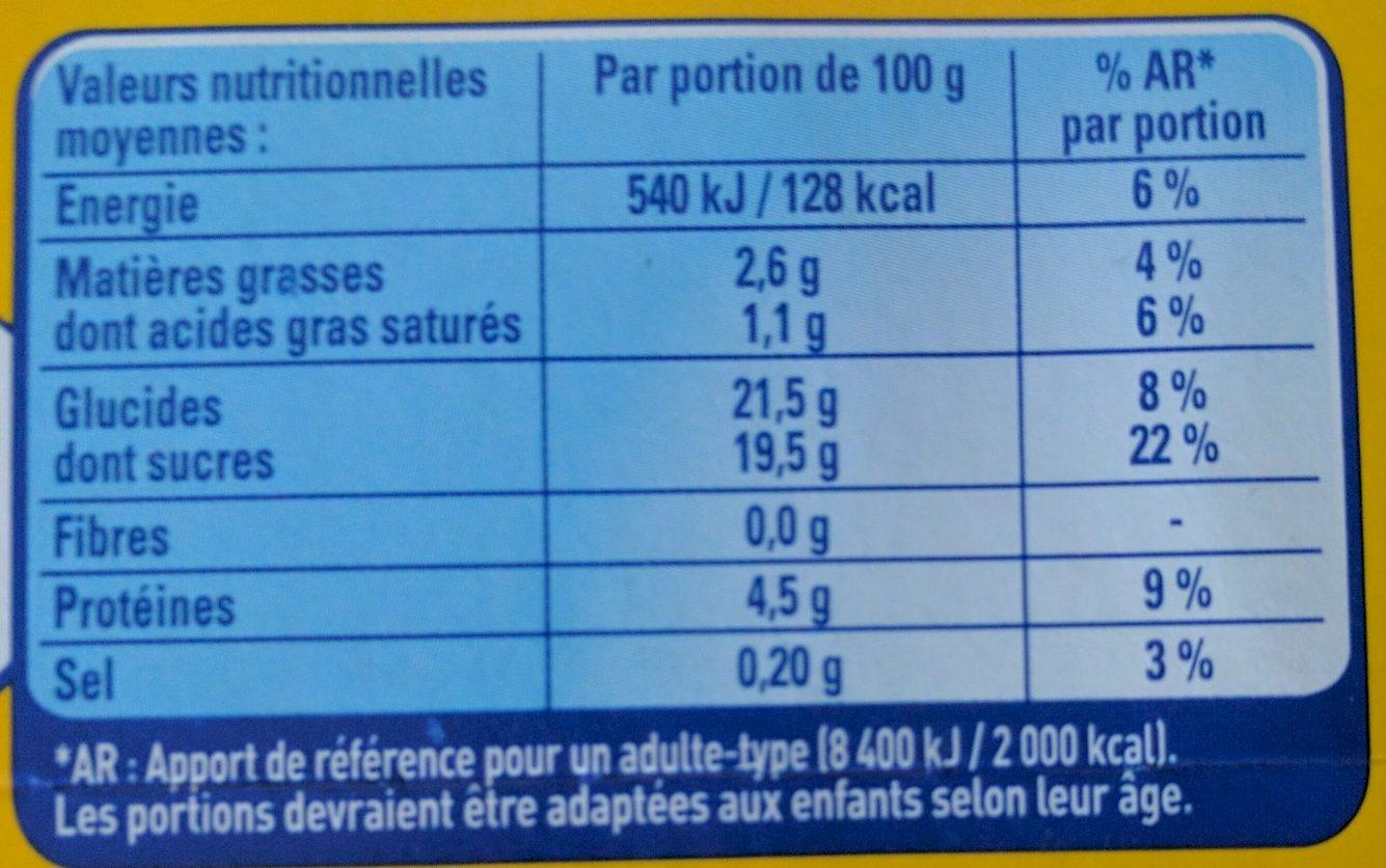 Crème Caramel Cuite & Dorée au four - Informations nutritionnelles - fr
