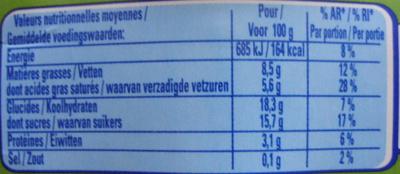 Le Viennois Chocolat Saveur Noisette - Voedingswaarden