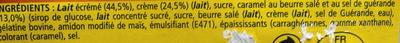 Velours de Crème (Caramel) - Ingrédients - fr
