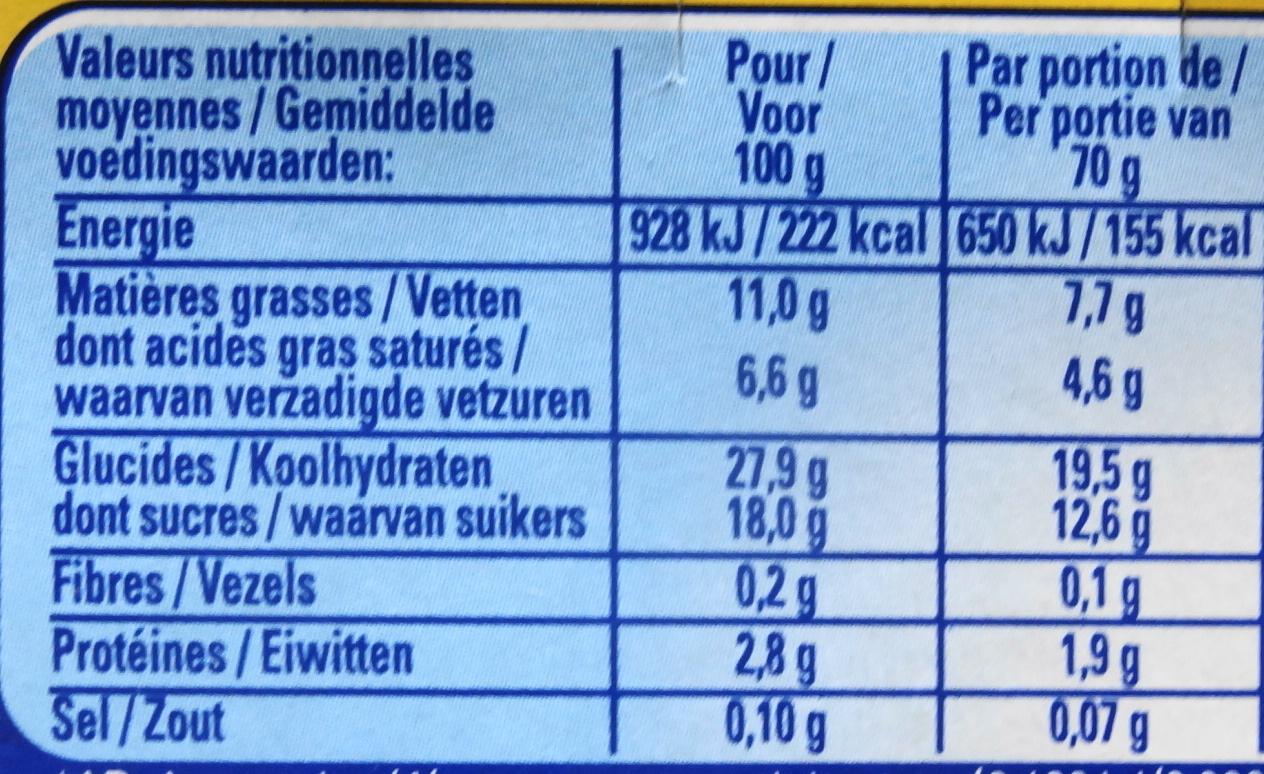 Velours de Crème (Caramel) - Informations nutritionnelles - fr
