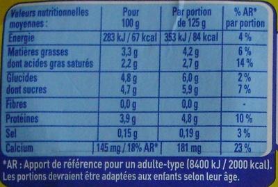 Le Yaourt Nature (4 Pots) - Informations nutritionnelles - fr