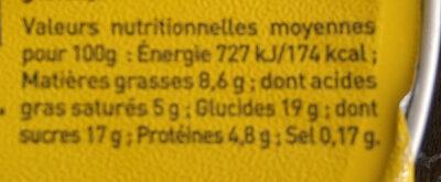 Le Petit Pot de Crème, Saveur Vanille (4 Pots) - Informations nutritionnelles