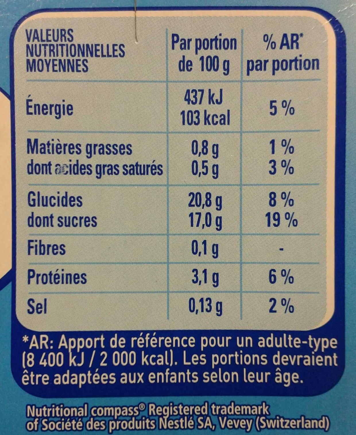 Flanby - Nutrition facts - fr