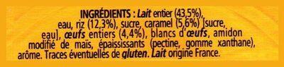 Gâteau de Riz sur lit de Caramel cuit au Four - Ingredients