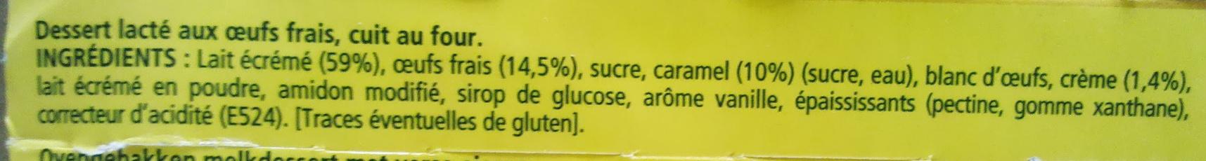 Crème Caramel, Cuite & Dorée au four (4 Pots) - Ingredients