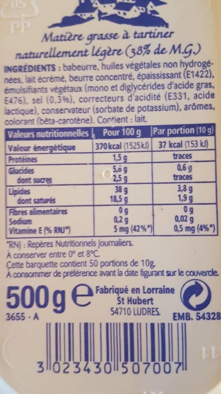 500G BQ Pate a Tartiner St Hubert 41 Doux - Informations nutritionnelles - fr