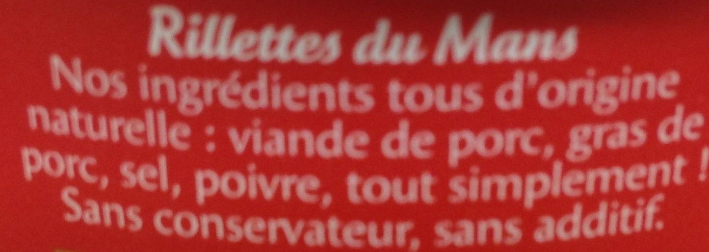 Rillettes du Mans La Véritable - Ingredients - fr