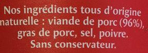 Rillettes du Mans - Ingredienti - fr
