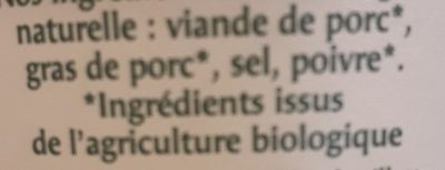 Rillettes Bio - Ingrédients