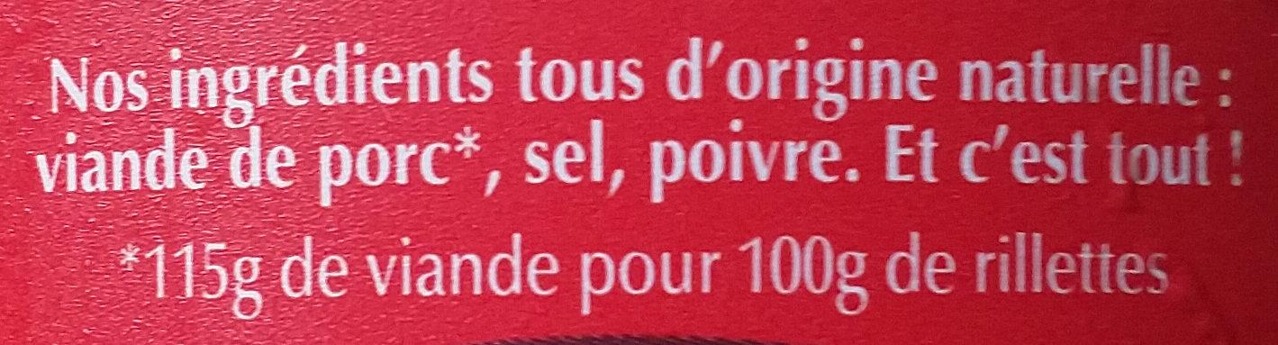 Rillettes sans graisses ajoutées - Ingrédients - fr