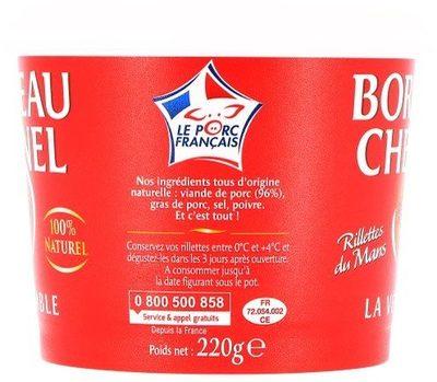 Rillettes du Mans Bordeau Chesnel - Ingrédients - fr