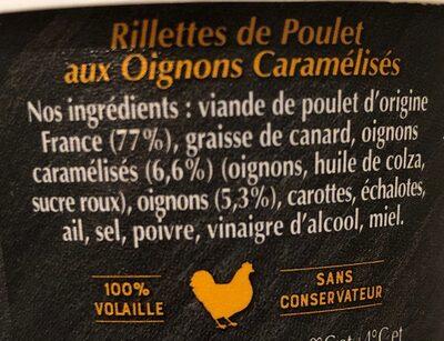 Rilettes de poulet oignons caramélisés - Ingrédients