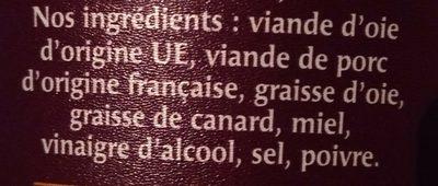 Les Exquises Rillettes Oie - Ingrédients - fr