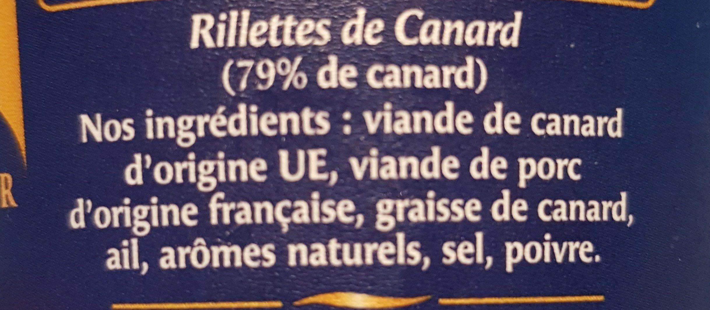 Fines rillettes Canard - Ingrédients