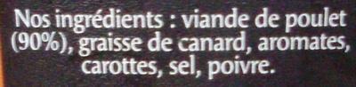 Rillettes de Poulet Rôti en Cocotte (+ 10 % Gratuit) - Ingrédients - fr