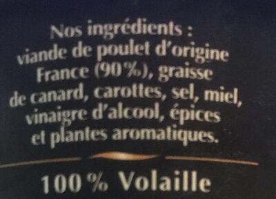 Rillettes de Poulet Rôti en cocotte - Ingredients