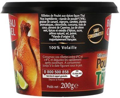Rillettes de poulet rôti façon thaï BORDEAU CHESNEL - Ingrediënten - fr