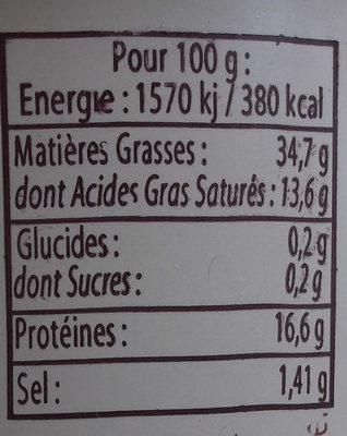 Albert Lhuissier rillettes de la Sarthe - Voedingswaarden