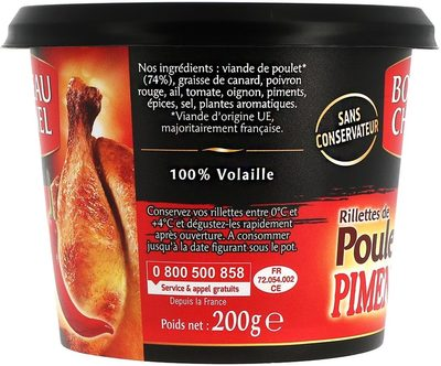 Rillettes de Poulet Pimenté - Ingrédients