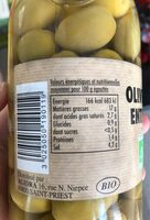 Olives vertes entieres - Nutrition facts - fr