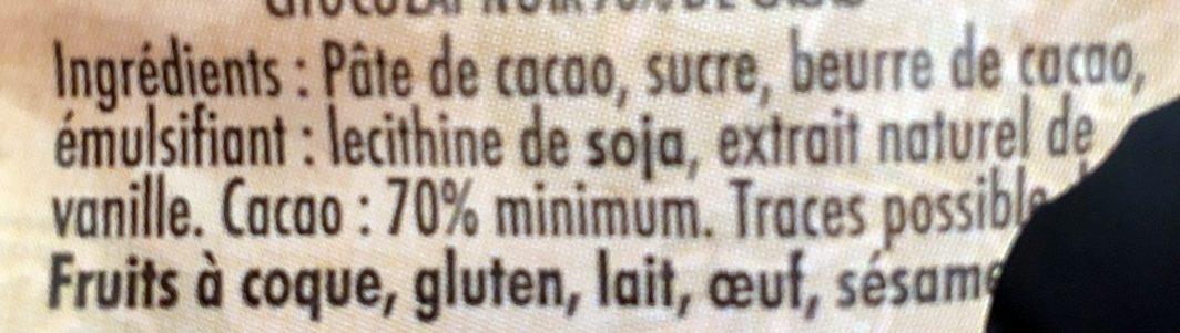 Chocolat Noir à 70% - Inhaltsstoffe - fr
