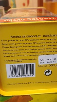 Cacao Soluble - Ingredients - fr