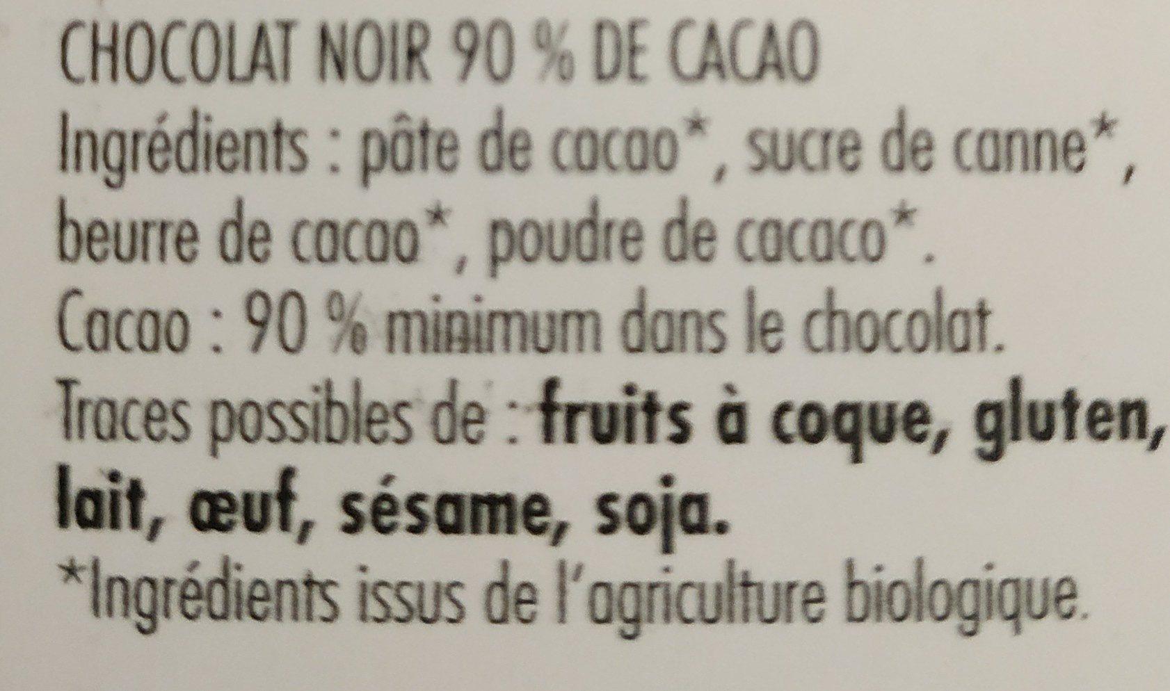 Noir 90% pur Criollo - Ingrédients - fr