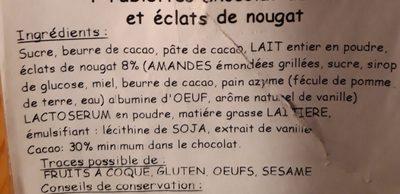 Chocolat au lait et éclats de nougat - Ingredients