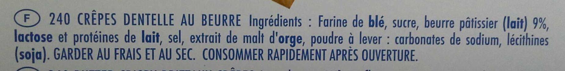Crêpe Dentelle - Ingrediënten - fr