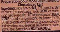 Mug Cake Moelleux au chocolat au lait - Ingrédients - fr
