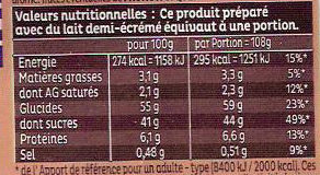 Mug Cake Moelleux au chocolat au lait - Informations nutritionnelles - fr