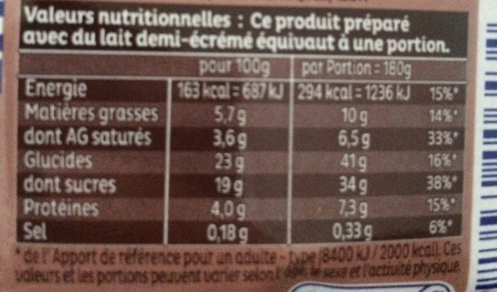 Mon Dessert Minute Crème au Chocolat - Informations nutritionnelles - fr