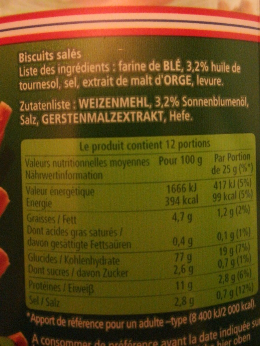 Sticks et bretzels alsaciens - Ingrédients - fr