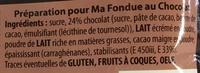 Ma Fondue au Chocolat - Ingrediënten - fr