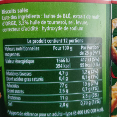 Ancel - Nutrition facts