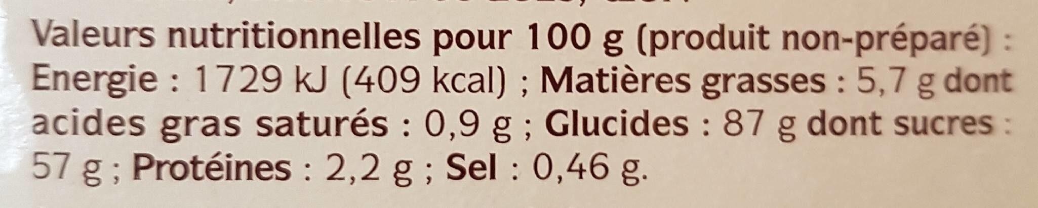 Crème pâtissière à froid Premium - Informations nutritionnelles - fr
