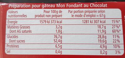 Mon Fondant au chocolat - Voedingswaarden - fr