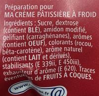 Ma crème Pâtissière - Ingrédients