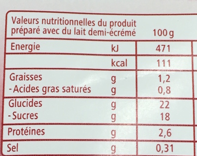Ma crème Pâtissière - Informations nutritionnelles