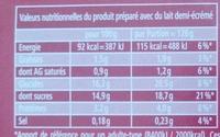 Mon Flan Entremets au Caramel - Nutrition facts - fr