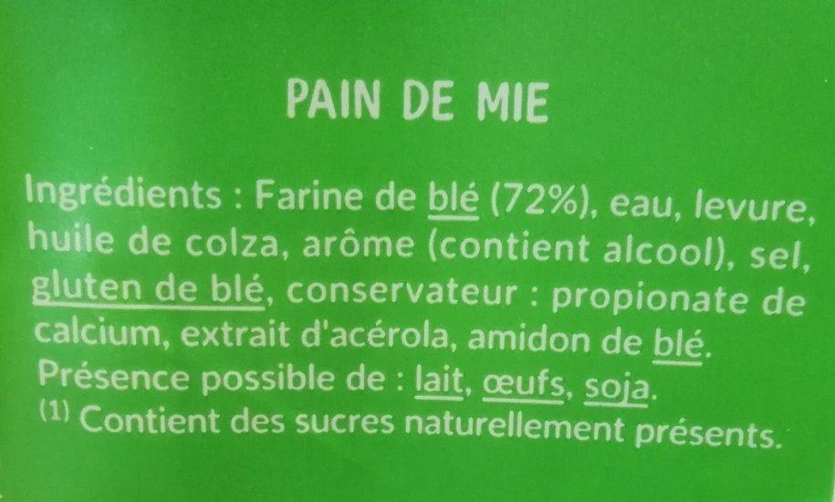 Pain De Mie Nature Sans Sucres Ajoutés - Ingrédients - fr