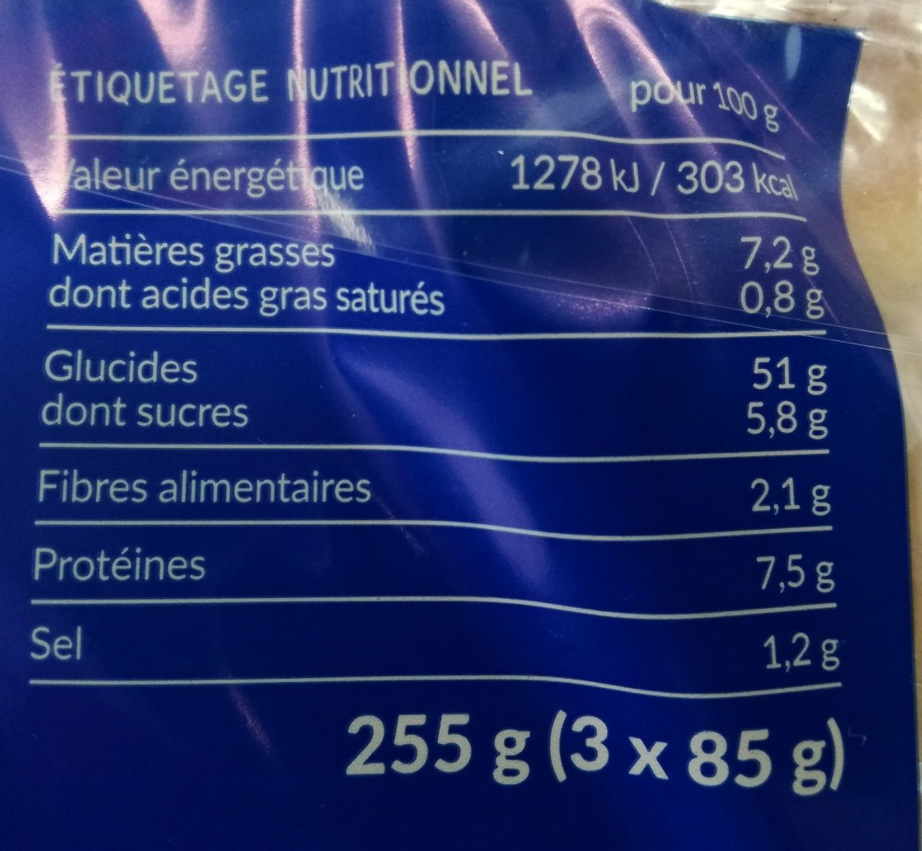Mini Toasts Nature - Informations nutritionnelles