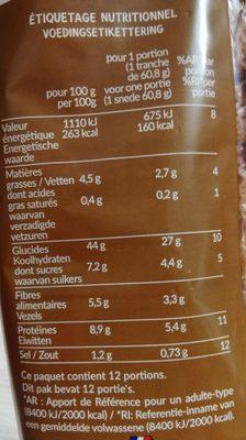 Crousti Moelleux Complet - Informations nutritionnelles