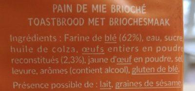 Crousti Moelleux Brioché - Ingrediënten