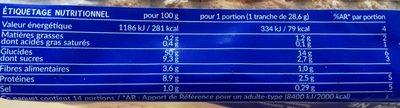 Tartine P'tit Déj Nature (14 tranches) - Nutrition facts