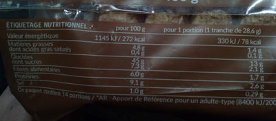 Tartine p'tit déj complet - Nutrition facts