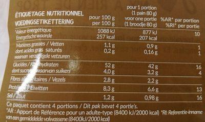 4 Pains Kébab - Informations nutritionnelles